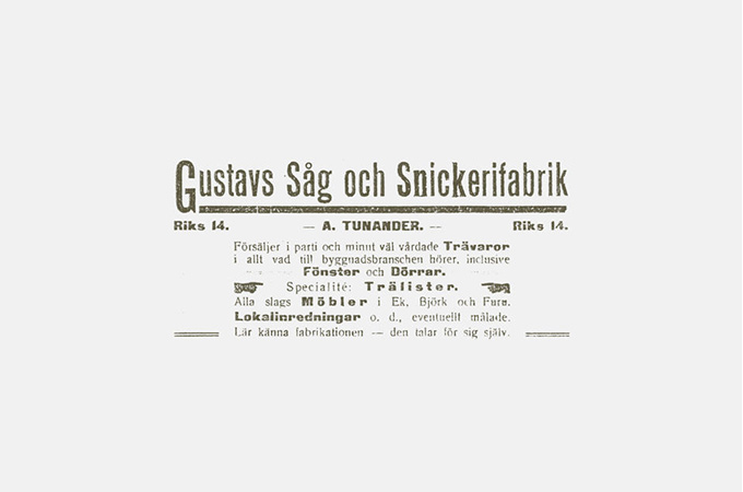 Old ad from Gustafs