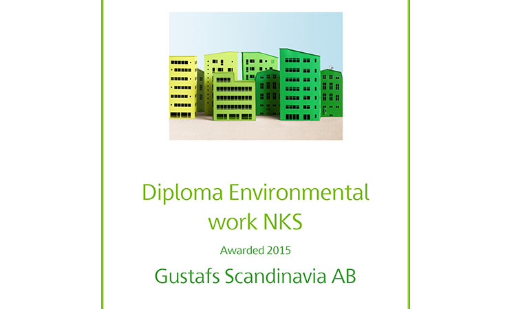 Gustafs Diploma for environmental work at Nya karolinska