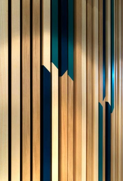 Creative pattern on wooden cladding
