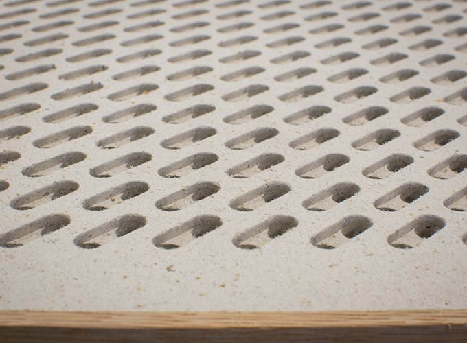 Acoustic perforated fibre gypsum panel