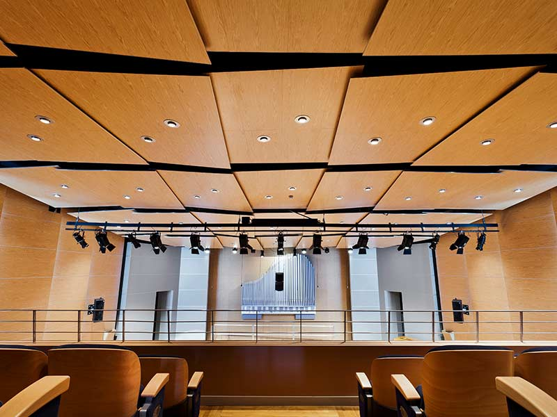Concert hall with Gustafs panels cladded in ceiling and walls