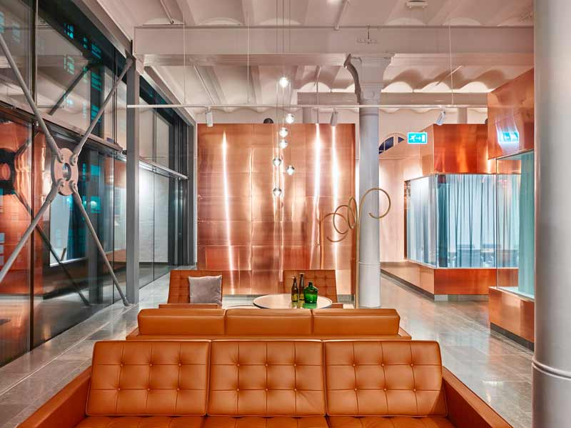 Gustafs copper panels installed at Octapharma office in stockholm