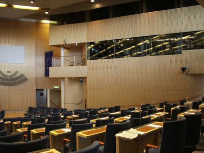 Acoustic panels cladded in the swedish parliament