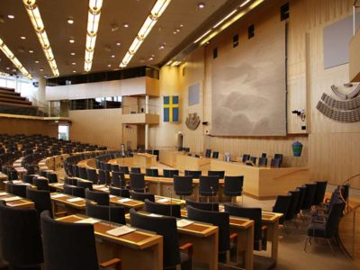 Yellow birch panels from Gustafs are mounted in the swedish parliament