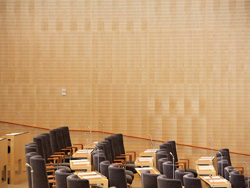 Acoustic panels at the swedish parliament