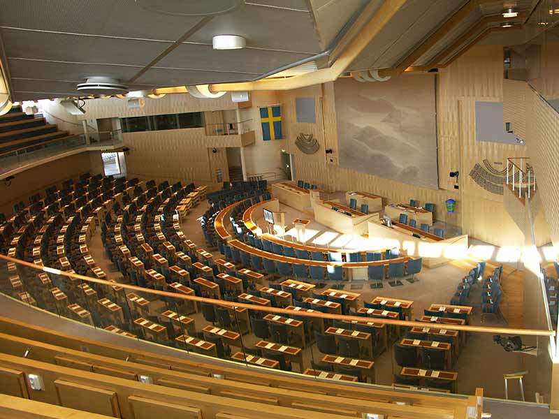 The swedish parliament is cladded with Gustafs Panels with birch veneer