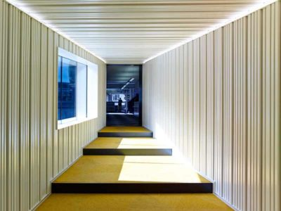 Office interior design in London cladded with Gustafs ribs