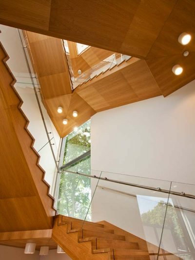 Wooden bespoke stairs at museum in Poland