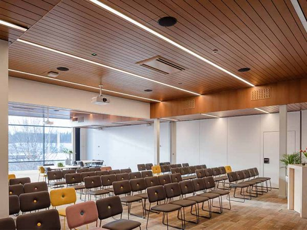 conference room with wooden ceiling