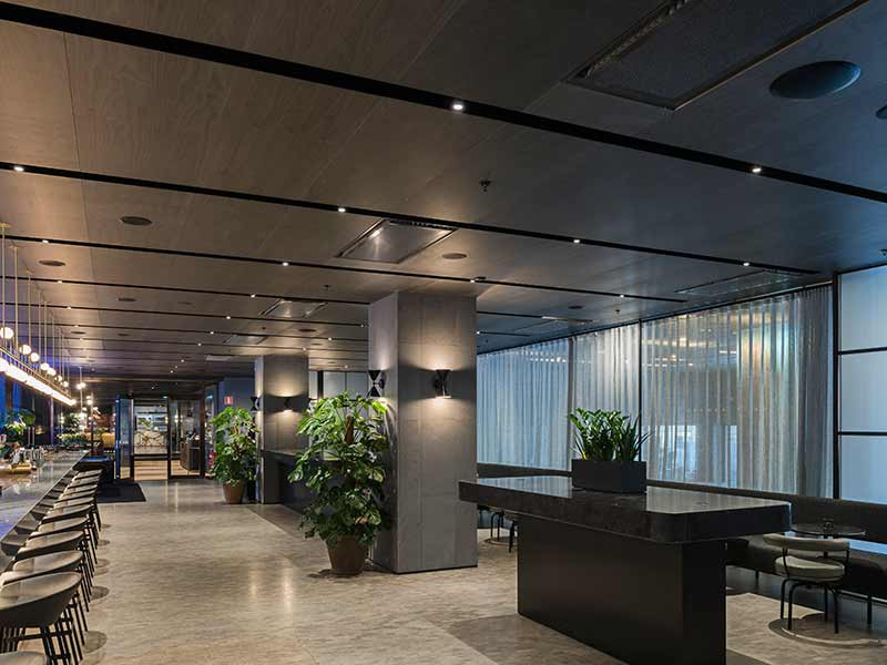 Ceiling panels at AtSix in stockholm with Nano perforation