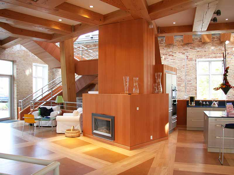 Wooden cladded chimney