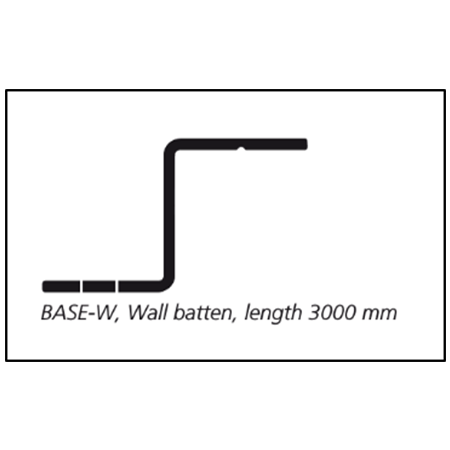 Base-W wall batten for rib installation