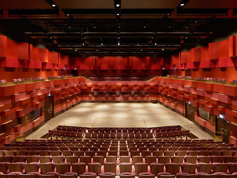 Concert hall with wooden acoustic panels