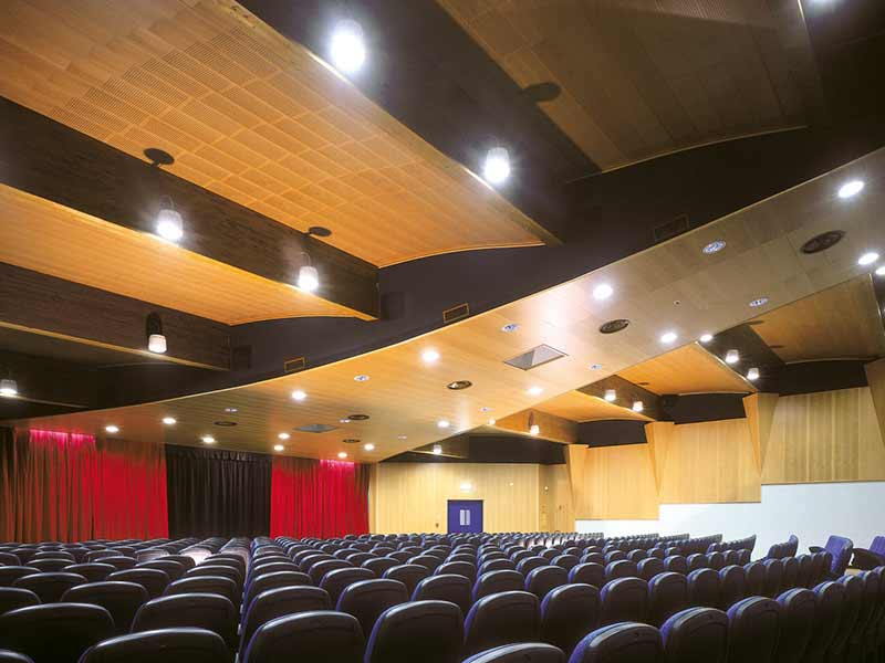 Acoustic ceiling panels in wood
