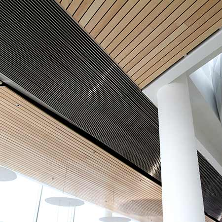 Plank ceiling installation for interior use