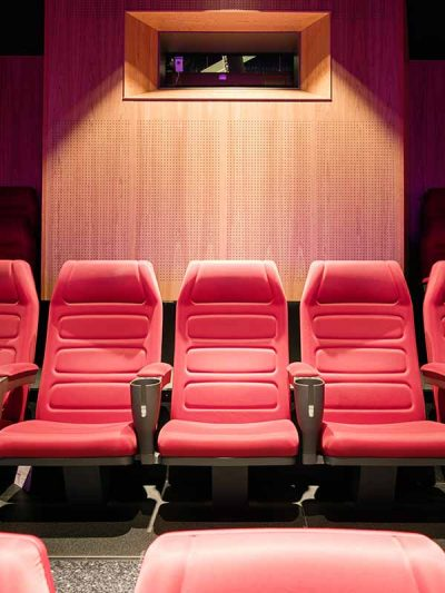 Cinema interior in Sweden cladded with acoustic perforated panels