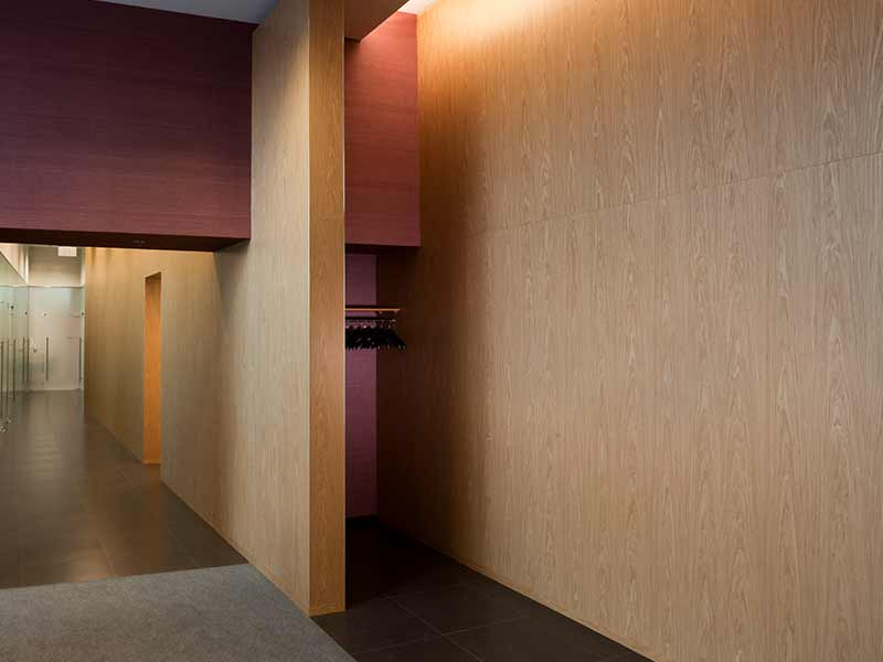 Office interior cladded with wooden panels