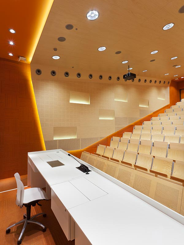 Auditorium at Gliwice university with acoustic perforated panels
