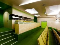 Wall and ceiling acoustic panels in auditorium