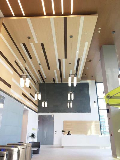 Ceiling panelling with plain wooden panels