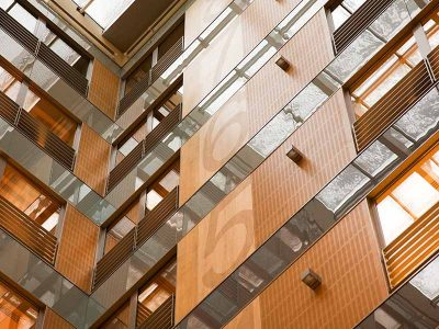 Atrium cladded with wooden panels