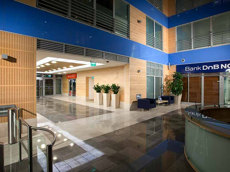 Office interior entrance with wooden mdf and gypsum panels