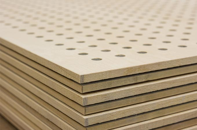 Acoustic perforated panel with solid wood edging