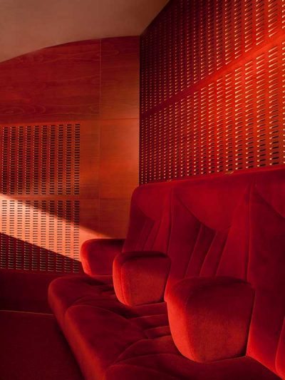 Red painted Gustafs acoustic perforated panels