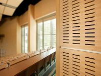 Slot perforated wooden panels for walls