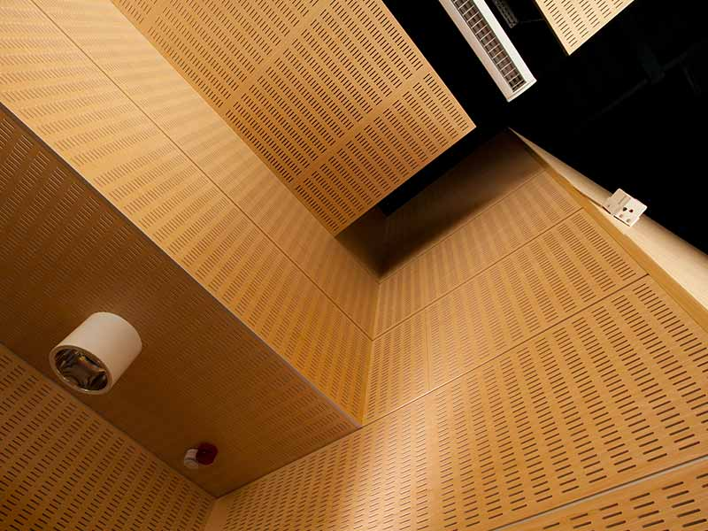 Wooden acoustic panels for wall cladding