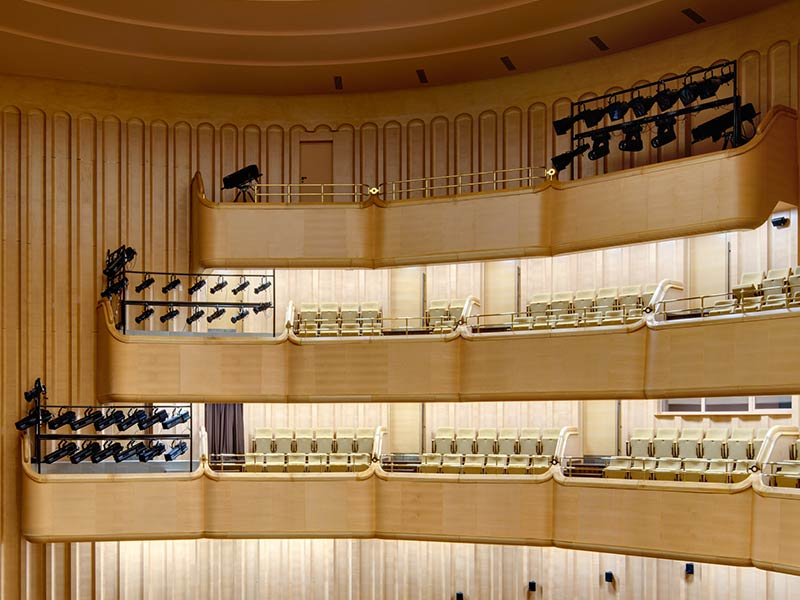 Wooden balconies at Kazakh National Academy of Choreography