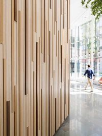 Timber wall panelling at IBM Kista
