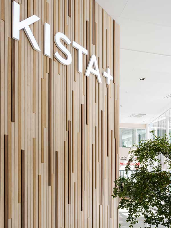 Kista sign on Wood slatted wall