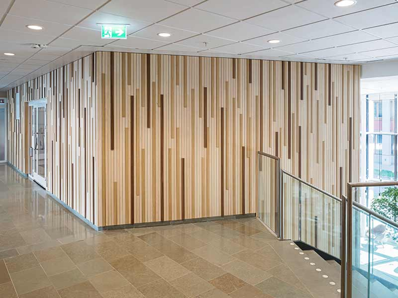 Wall cladded with timber wall panels