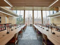 wooden panels at royal holloway library