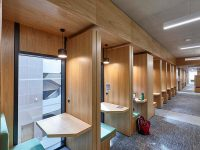 interior wooden cladding panels at royal holloway