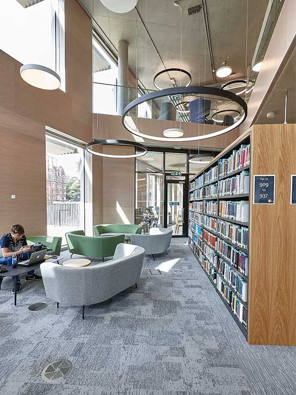 library interior with wooden panels
