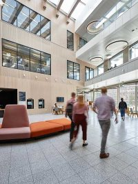 atrium at royal holloway library with wall panelling
