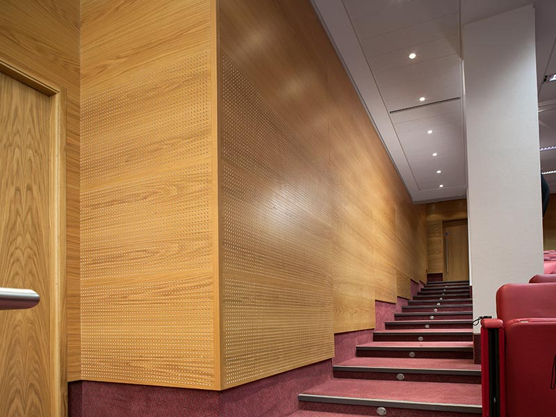 Perforated acoustic wooden panels