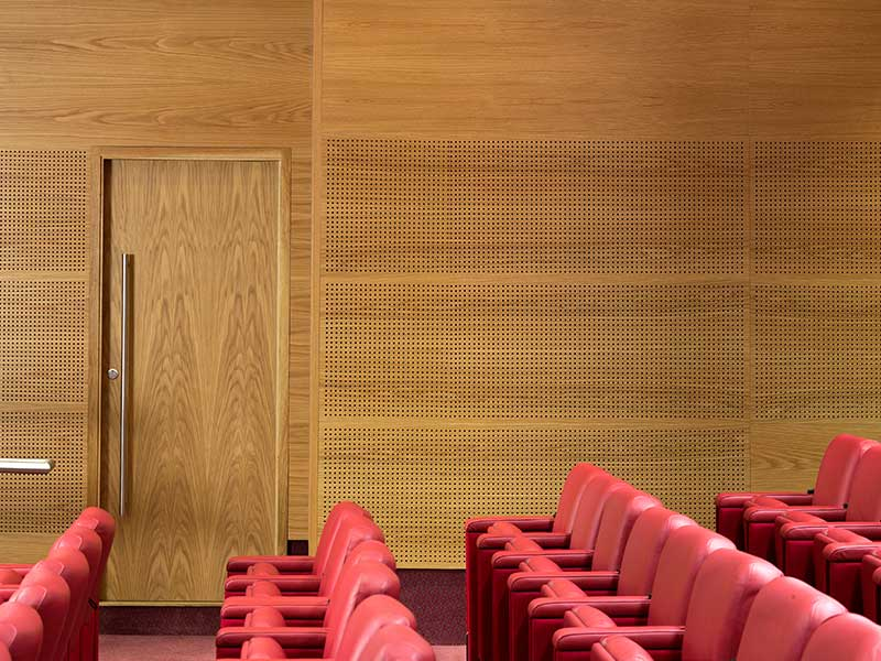 Perforated acoustic oak panels wall caldding