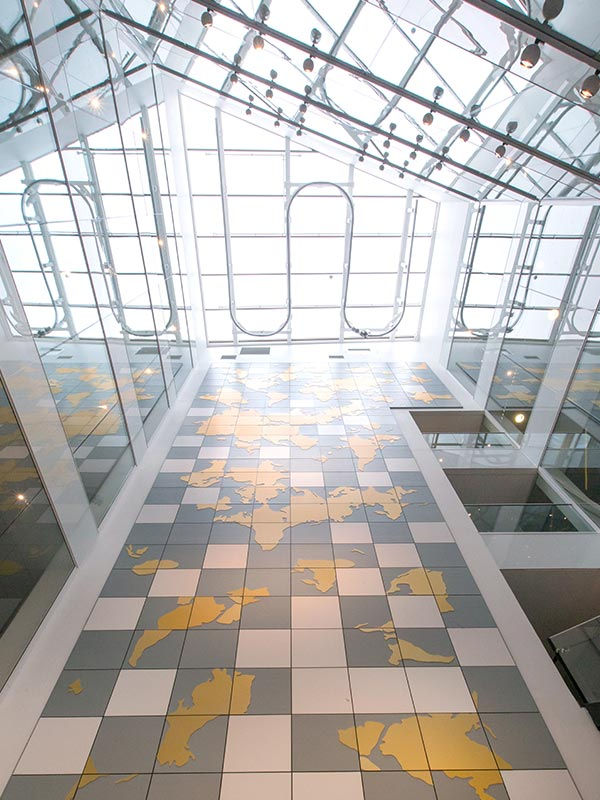 atrium wall design at business complex in Sweden