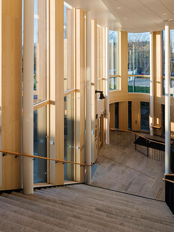 Entrance to Lund's District Court cladded with ash panels
