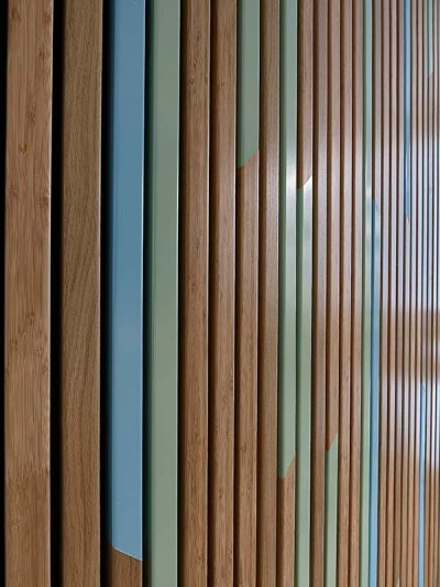 Close up of bamboo veneered wood panels