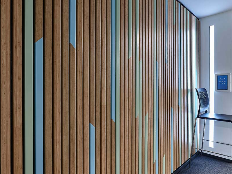 Timber acoustic panels in bamboo veneer