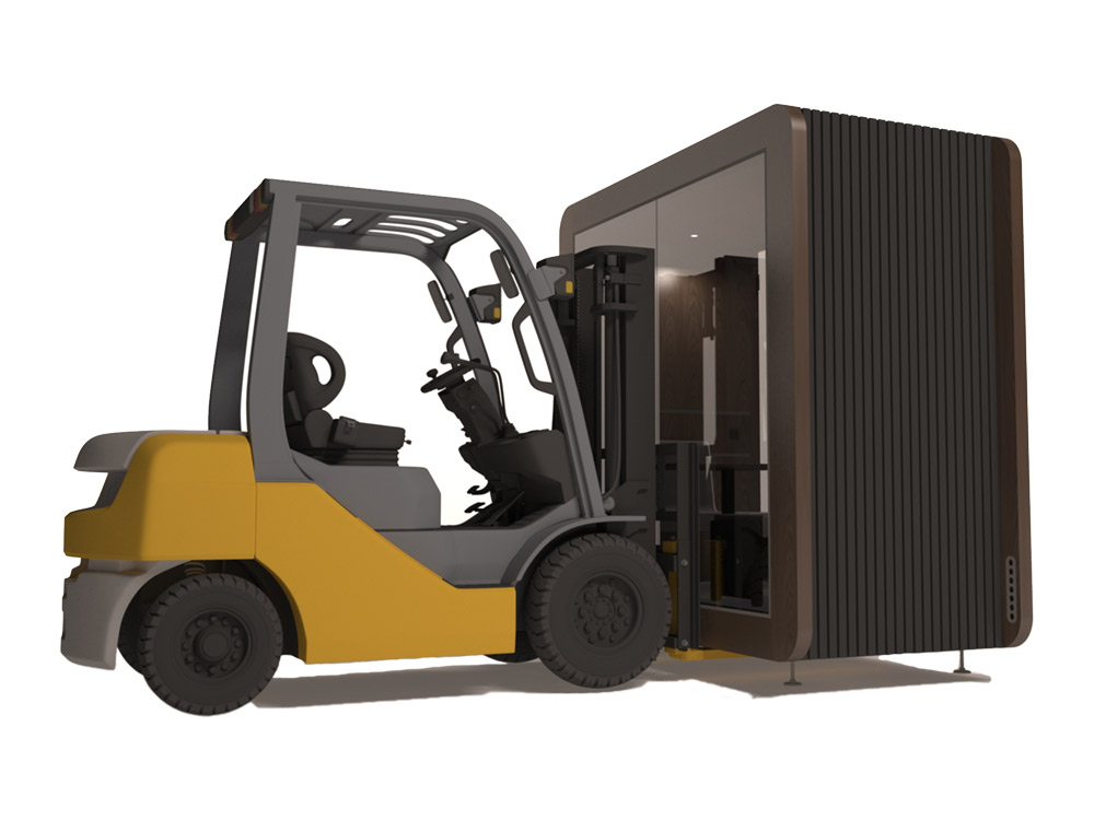 Mobile meeting pod with forklift