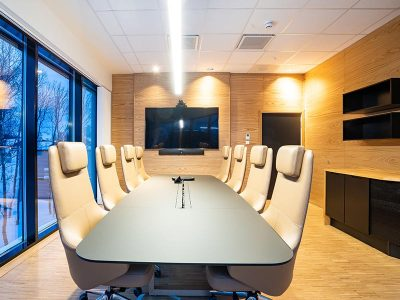 Acoustic solutions for conference rooms cladded with wooden acoustic panels