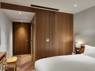 Walnut panels at hotel room in London