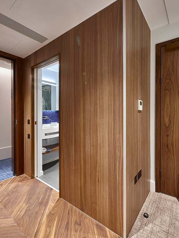 Hotel room wooden interior panels