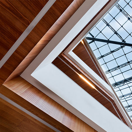 Wood ceiling panels veneered