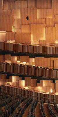 Wooden cladding panels in concert hall